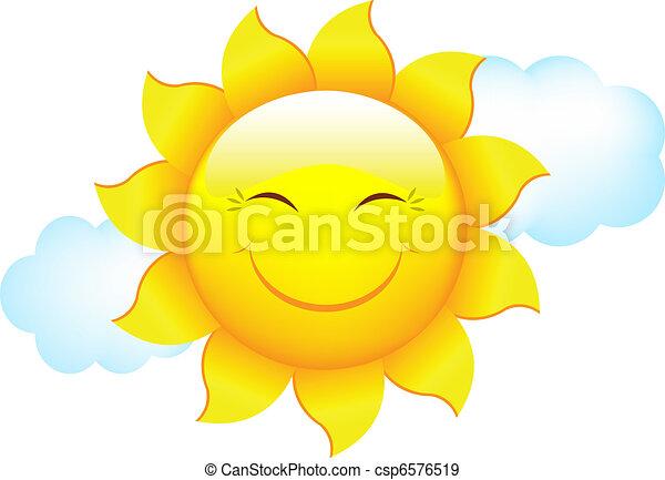 Soleil dessin anim nuage soleil isol illustration fond vecteur nuage blanc dessin anim - Nuage en dessin ...