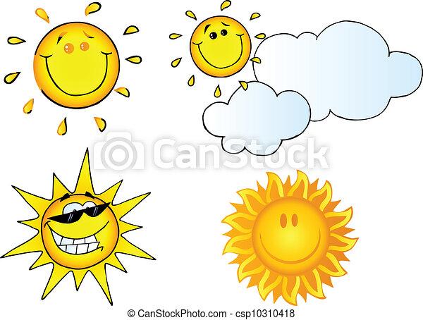 soleil, différent, dessin animé, caractères - csp10310418