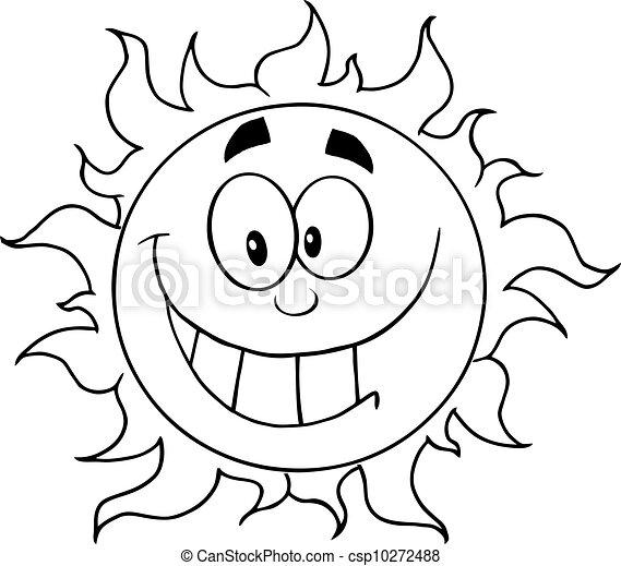 soleil, esquissé, heureux - csp10272488