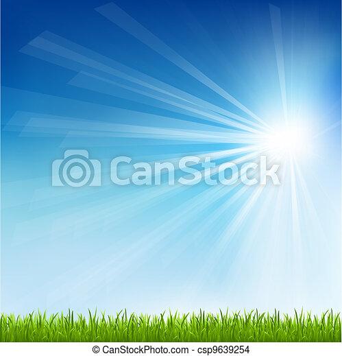 soleil, herbe, vert, faisceau - csp9639254