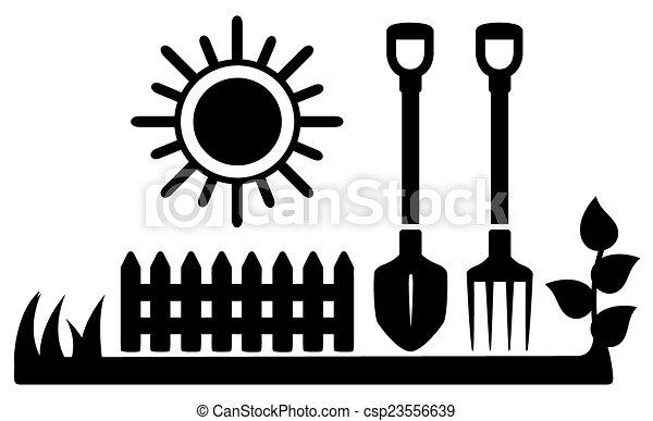 soleil, icône, outils jardinage, noir - csp23556639