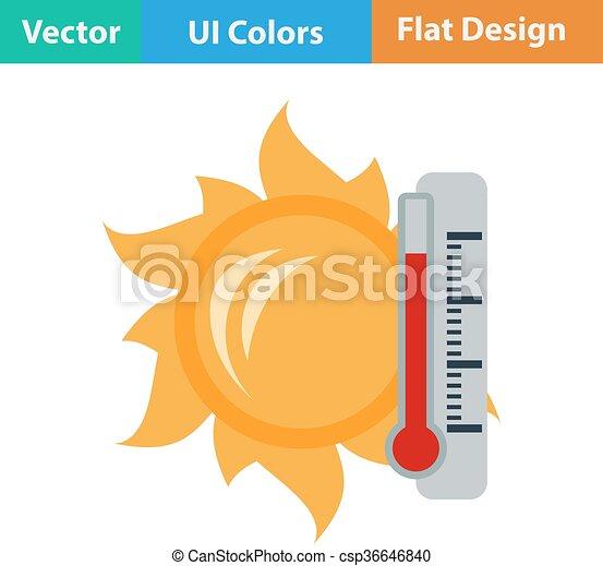 soleil, icône, thermomètre - csp36646840