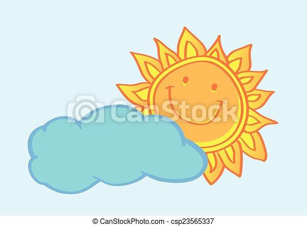 soleil, illustration, derrière, vecteur, dessin animé, nuage, heureux - csp23565337