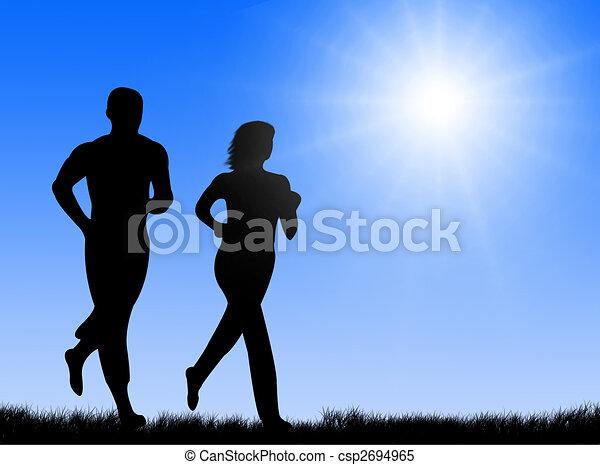 soleil, jogging - csp2694965