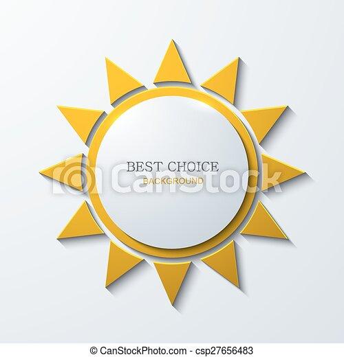 soleil, moderne, vecteur, fond, blanc, icône - csp27656483