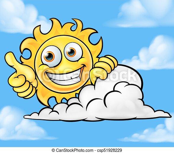 soleil, nuage, dessin animé, fond, mascotte - csp51928229