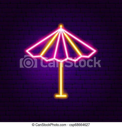 soleil, parasol, néon, étiquette - csp68664627