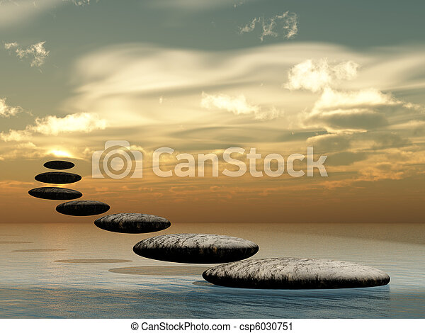 soleil, pierre, zen, formulaire, sentier - csp6030751