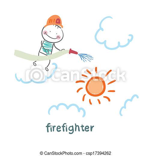 soleil, pompier, met, dehors - csp17394262