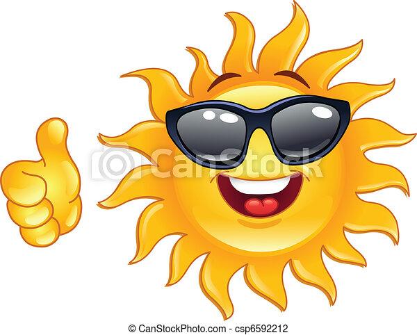soleil, pouce haut - csp6592212