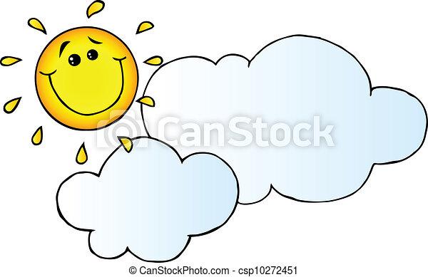 soleil, sourire, derrière, nuage - csp10272451