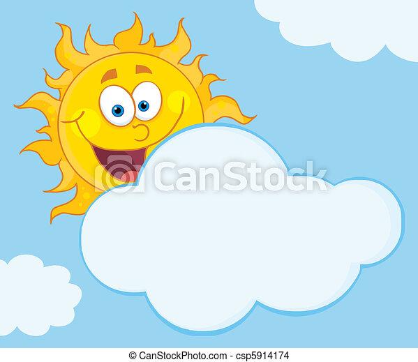 soleil, sourire, derrière, nuage - csp5914174