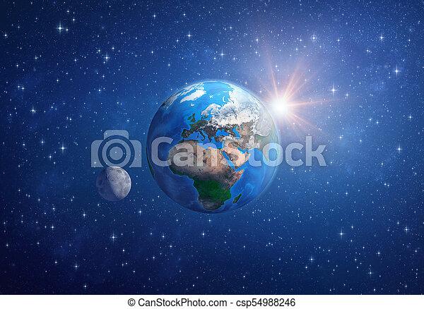 soleil, space., lune, planète, profond, la terre - csp54988246