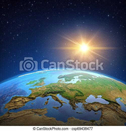 soleil, sur, briller, la terre, espace - csp69438477