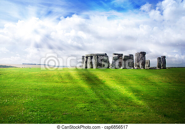 soleil, sur, rayons, stonehenge - csp6856517