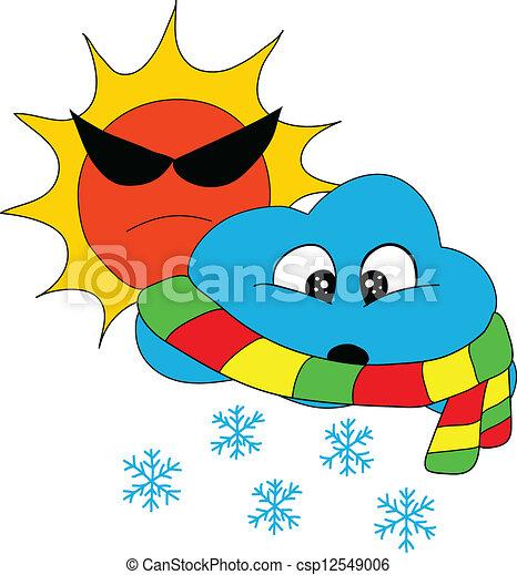 soleil, temps, neige - csp12549006