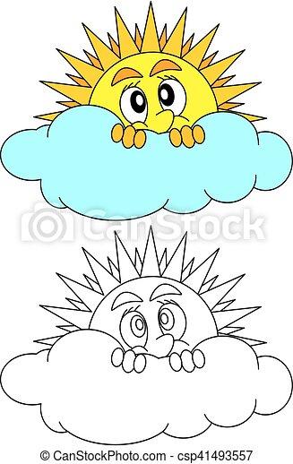 soleil, timidement, derrière, nuage, jette coup oeil - csp41493557