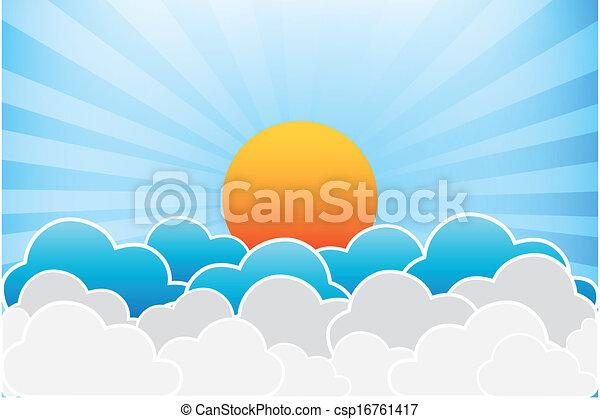 soleil, vecteur, nuages - csp16761417