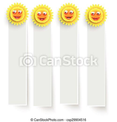 Estandartes blancos con soles sonrientes - csp29904516