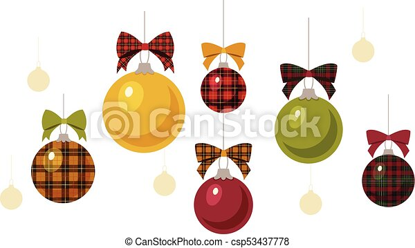 solid and plaid christmas ornaments csp53437778 - Plaid Christmas Ornaments