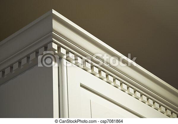 Solid Wood Kitchen Cabinet Crown Moulding Dentil Detail - csp7081864
