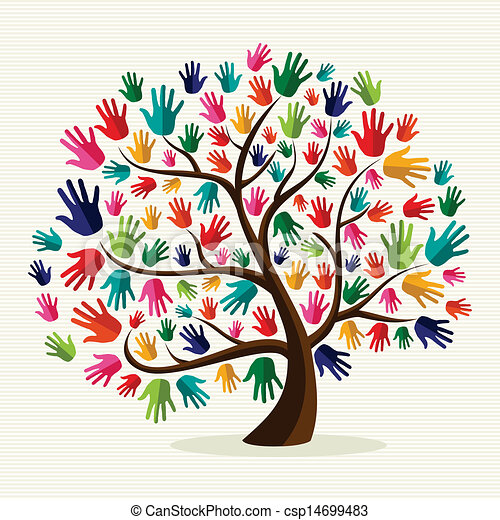 solidariedade, mão, coloridos, árvore - csp14699483