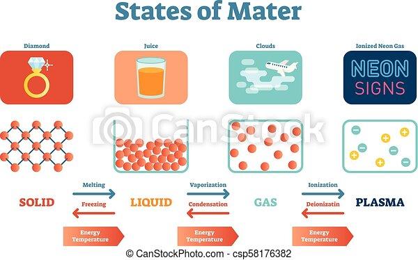 solides, vecteur, scientifique, plasma., pédagogique, mater, affiche, physique, liquides, etats, illustration, essence - csp58176382
