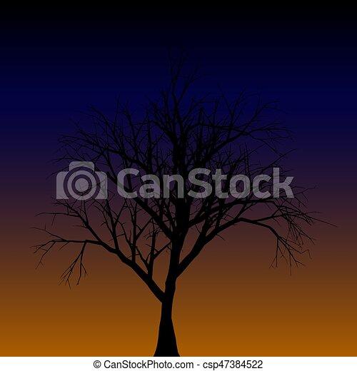 Silueta de un árbol solitario. - csp47384522
