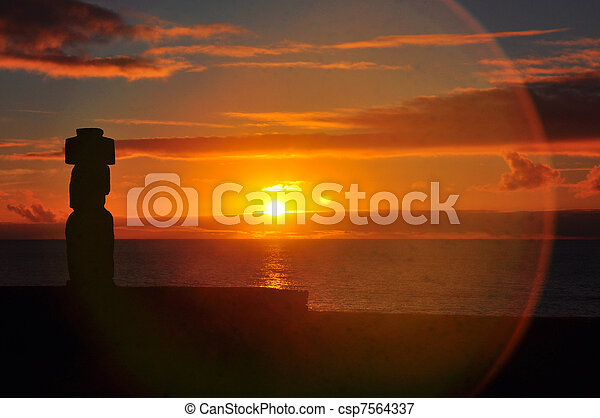 Solitary Moai on Easter Island at sunset - csp7564337