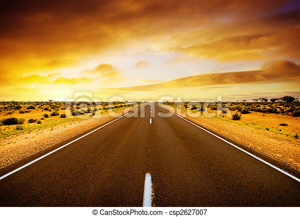 solnedgang, vej - csp2627007