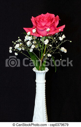 Solo Pink Rose Single Perfect Pink Rose In A White Hobnail Vase