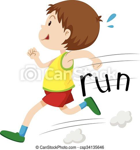 solo, ragazzo, poco, correndo - csp34135646