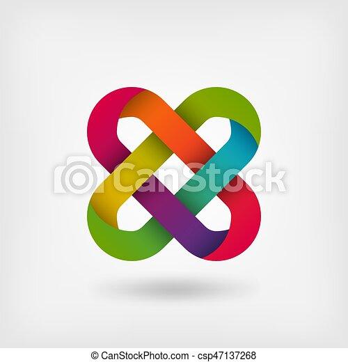 solomon knot in rainbow colors - csp47137268