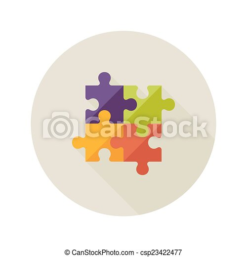 Illustration of solution creativity puzzle flat icon.