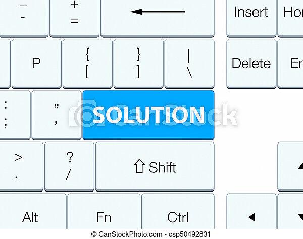 Solution cyan blue keyboard button - csp50492831