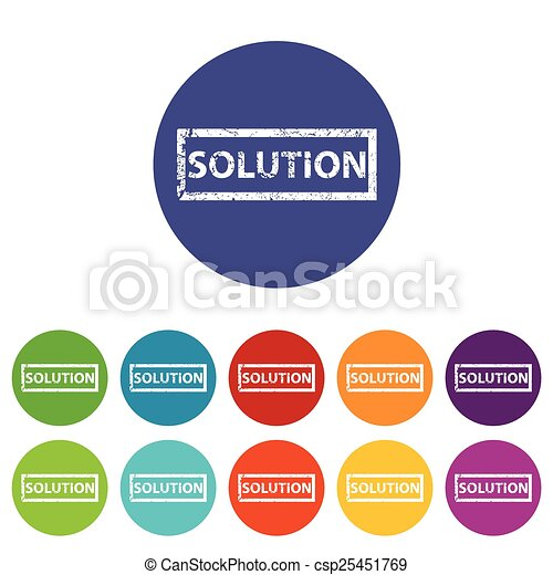 Solution flat icon. Solution web flat icon in different ...