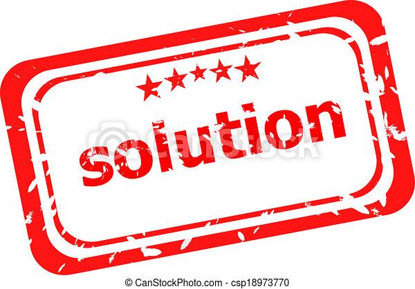 Solution grunge rubber stamp on white background - csp18973770