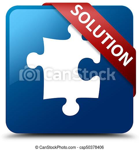Solution (puzzle icon) blue square button red ribbon in corner - csp50378406