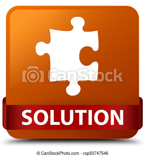 Solution (puzzle icon) brown square button red ribbon in middle - csp50747546