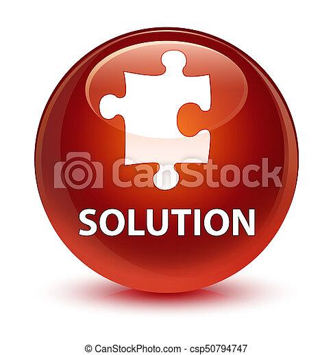 Solution (puzzle icon) glassy brown round button - csp50794747