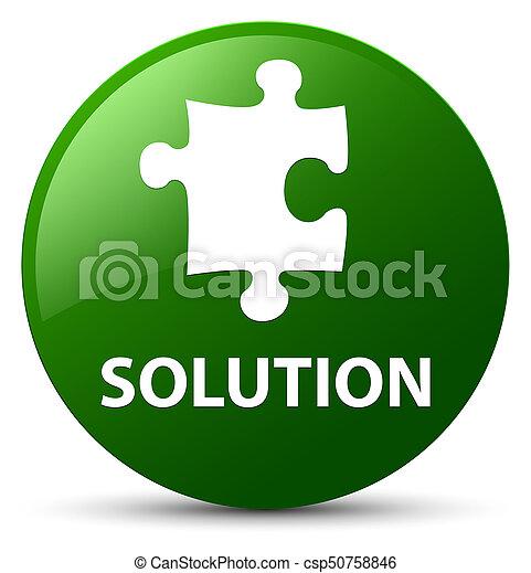 Solution (puzzle icon) green round button - csp50758846