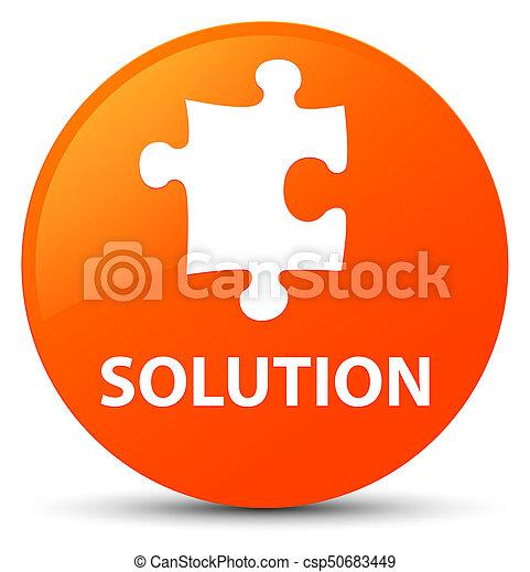 Solution (puzzle icon) orange round button - csp50683449