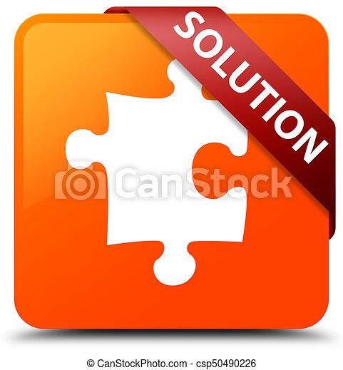 Solution (puzzle icon) orange square button red ribbon in corner - csp50490226