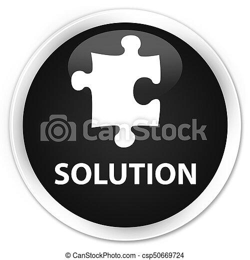 Solution (puzzle icon) premium black round button - csp50669724