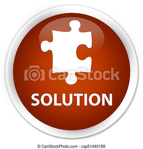 Solution (puzzle icon) premium brown round button - csp51440189
