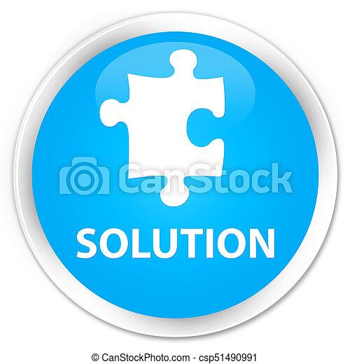 Solution (puzzle icon) premium cyan blue round button - csp51490991
