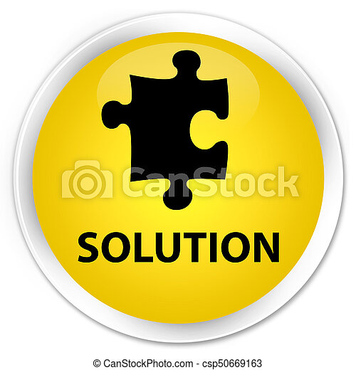Solution (puzzle icon) premium yellow round button - csp50669163