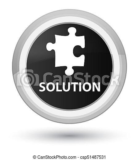 Solution (puzzle icon) prime black round button - csp51487531