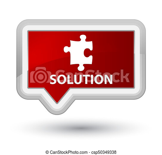 Solution (puzzle icon) prime red banner button - csp50349338