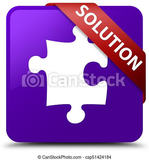 Solution (puzzle icon) purple square button red ribbon in corner - csp51424184